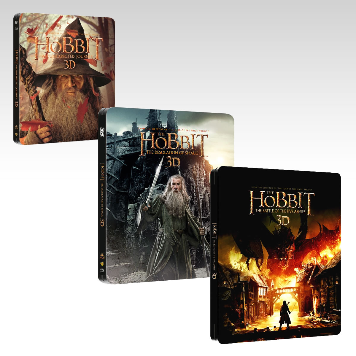 THE HOBBIT: AN UNEXPECTED JOURNEY 3D+THE HOBBIT: THE DESOLATION OF SMAUG 3D+THE HOBBIT: THE BATTLE OF THE FIVE ARMIES 3D 3x Steelbooks (BD 3D + BD)