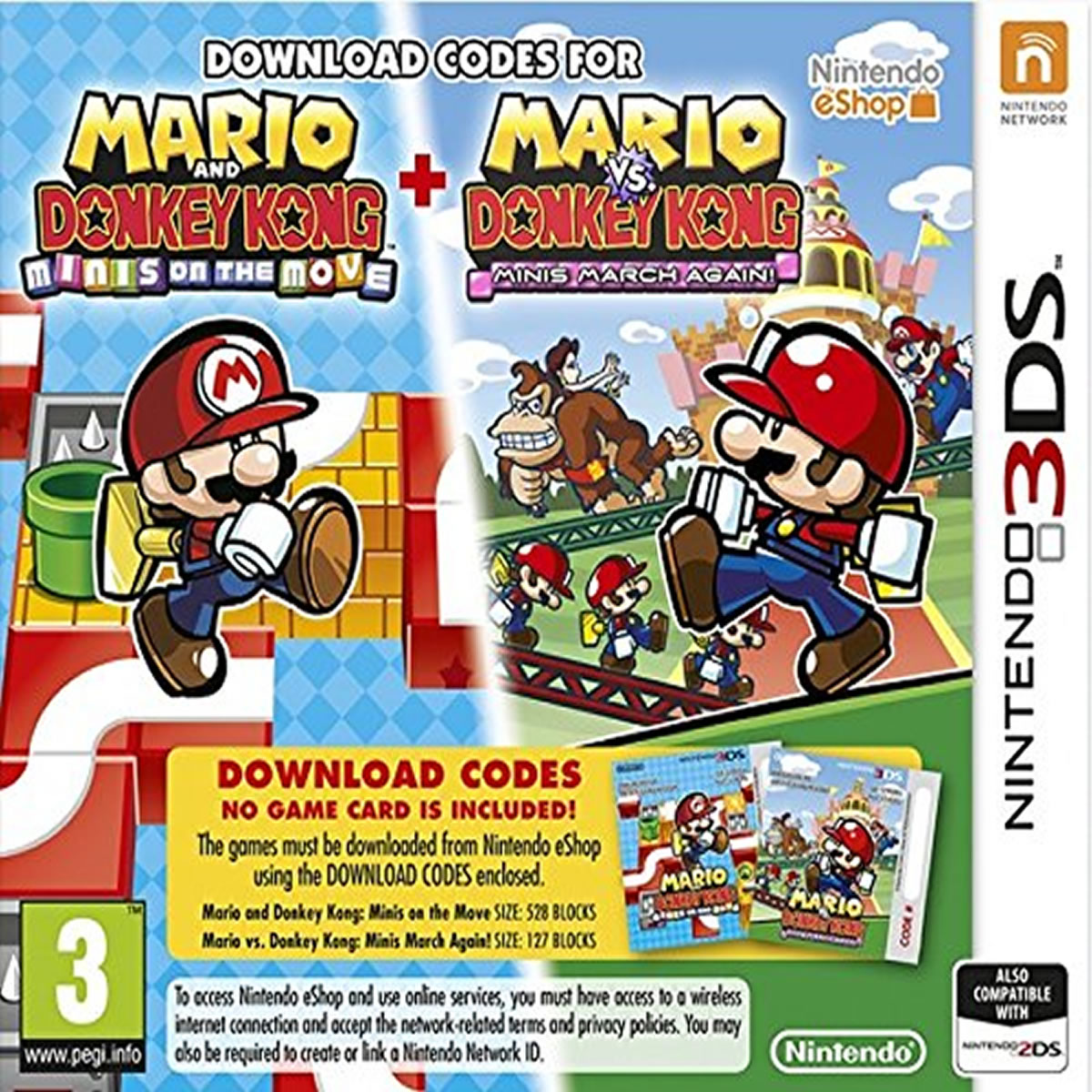 MARIO AND DONKEY KONG: MINIS ON THE MOVE + MARIO VS. DONKEY KONG: MINIS MARCH AGAIN! - (CODE IN A BOX) (3DS, 2DS)
