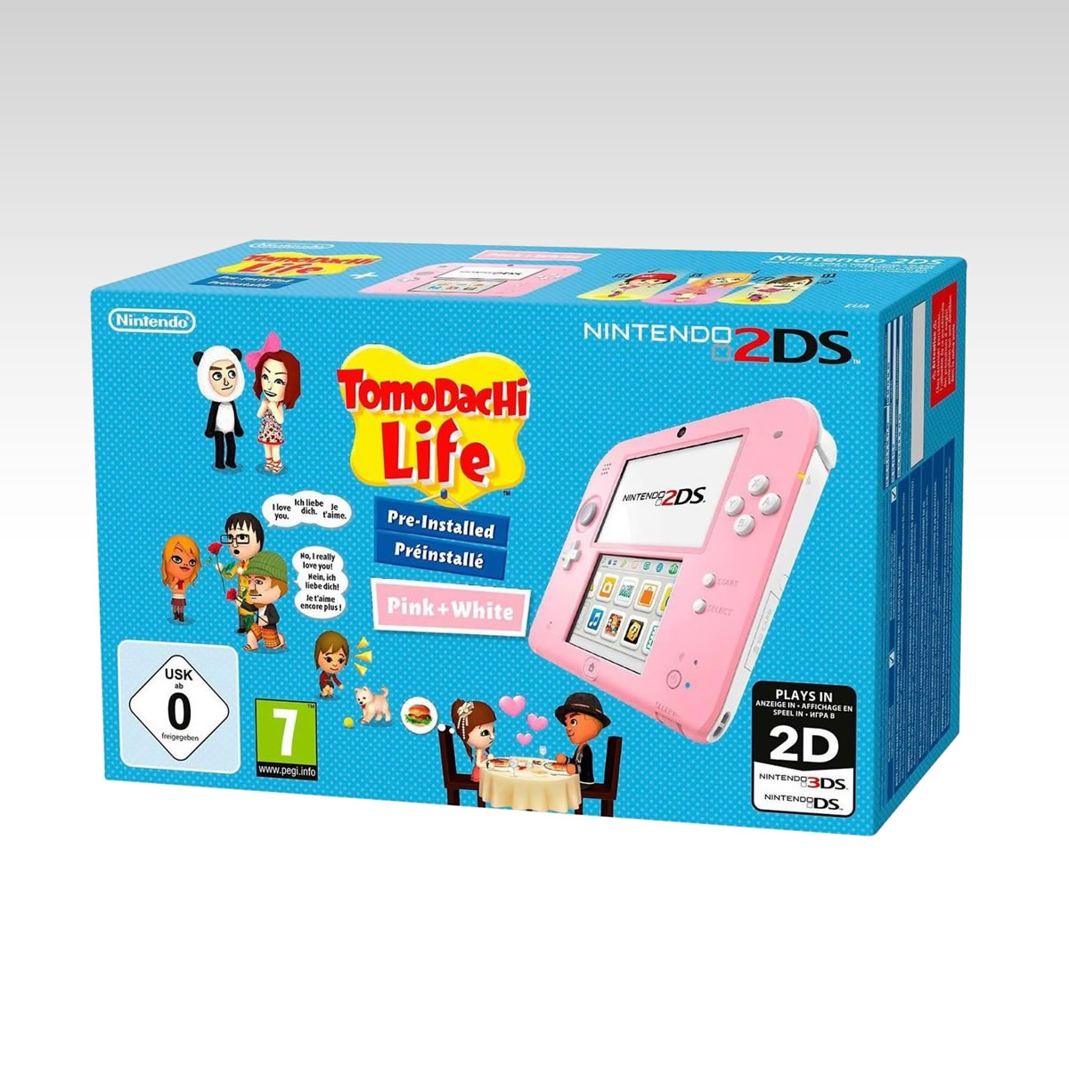 NINTENDO 2DS CONSOLE FTR-001 PINK & WHITE + TOMODACHI LIFE
