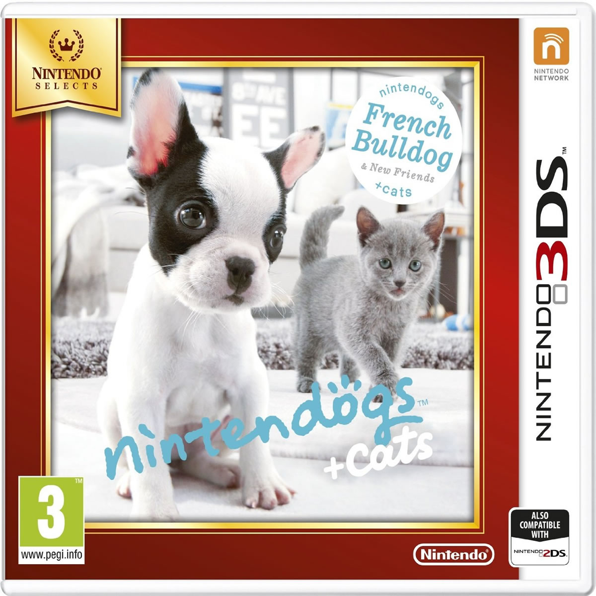 NINTENDOGS :BULLDOG & FRIENDS - SELECTS (3DS, 2DS)
