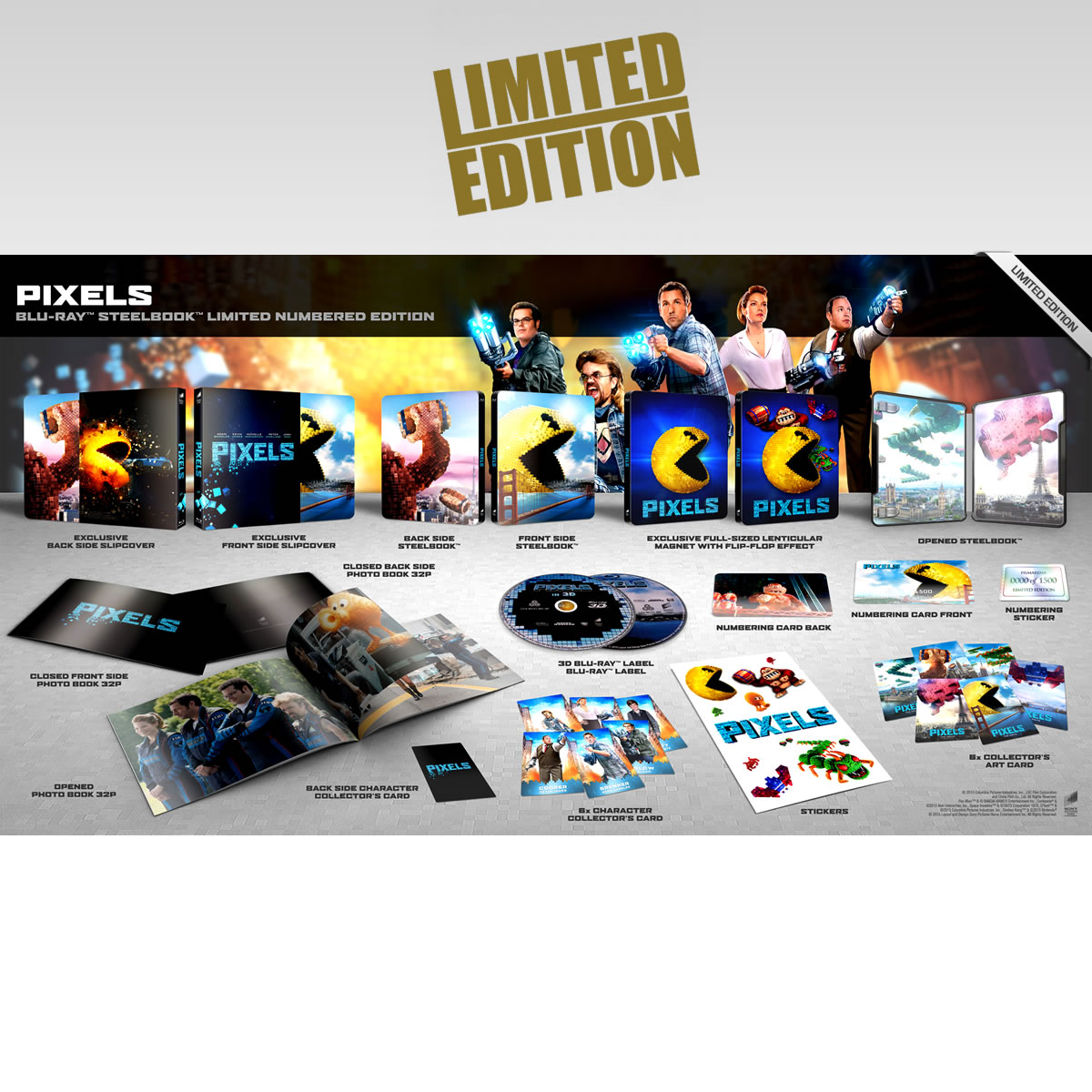PIXELS 3D Limited Collector's Numbered Edition Steelbook + PHOTOBOOK (BLU-RAY 3D + BLU-RAY)