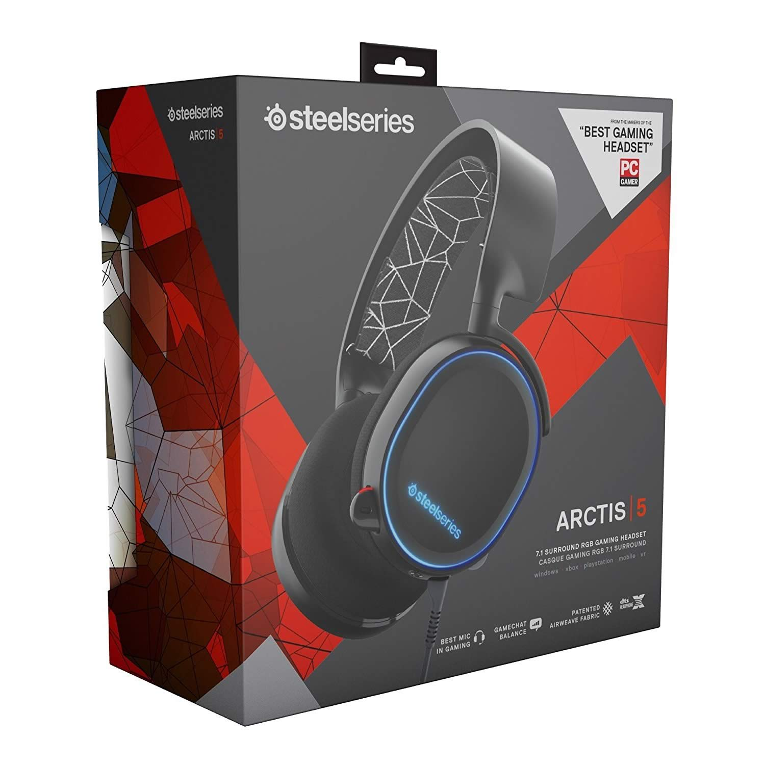 STEELSERIES - HEADSET ARCTIS 5 BLACK 61443 (PC, Mac, PS4, XBOX One, Switch, Mobile)