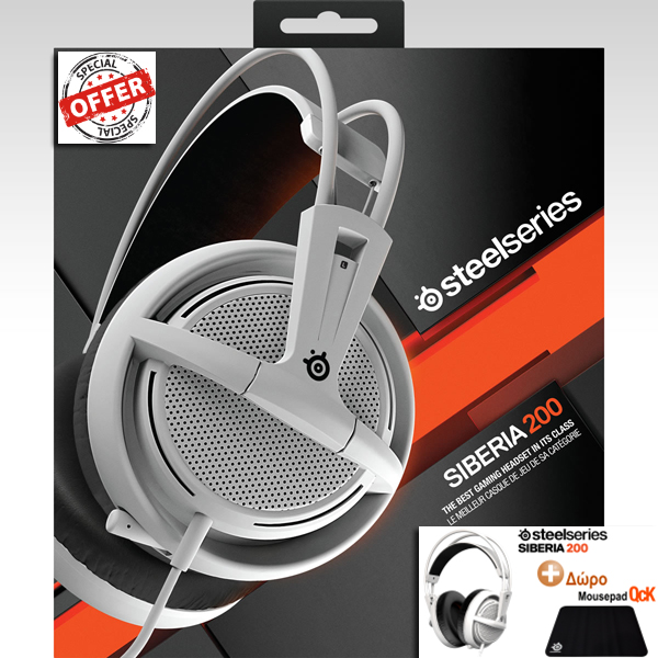STEELSERIES - HEADSET SIBERIA 200 WHITE 51132 + ΔΩΡΟ SURFACE QcK 63004 (PC, Mac, PS4, Mobile)