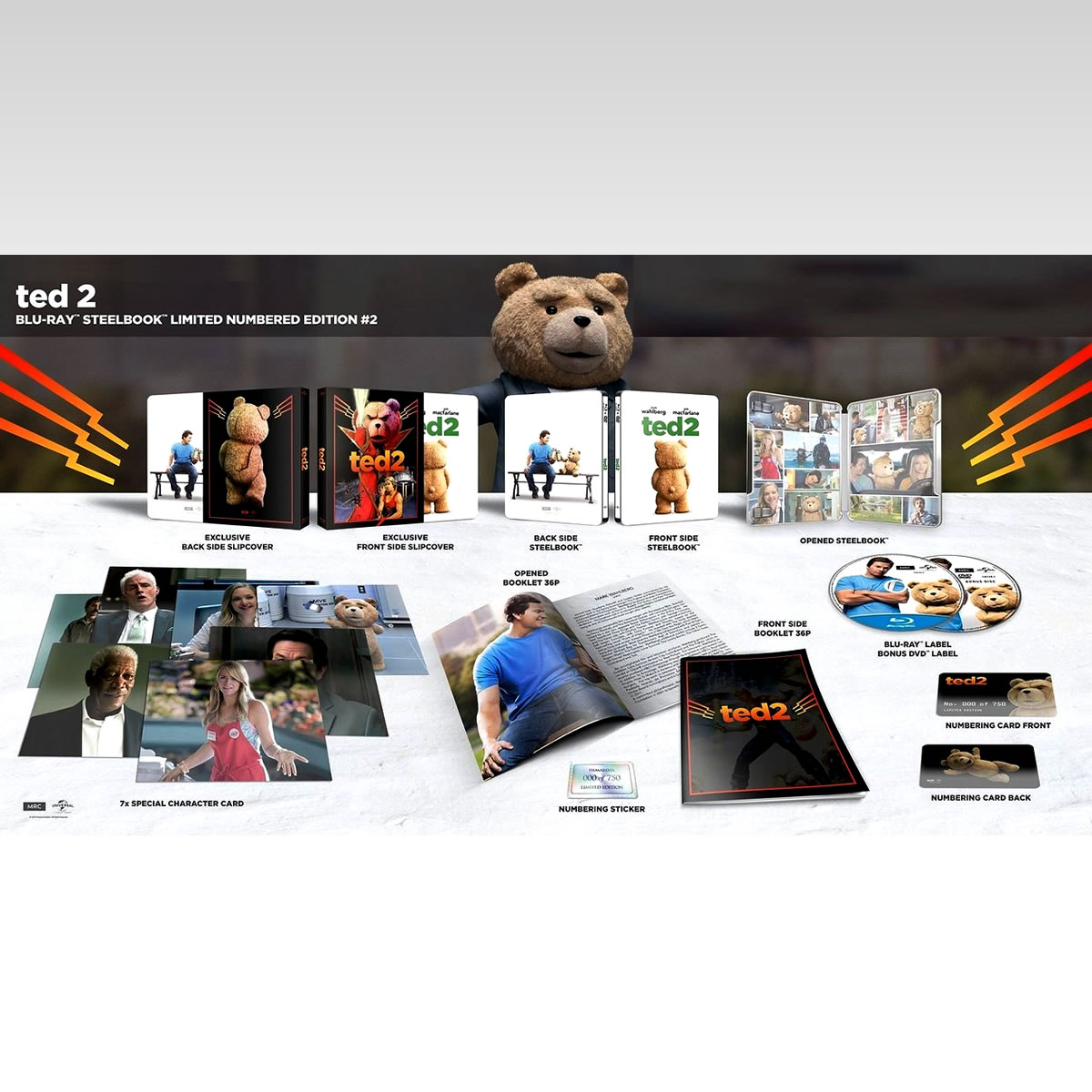TED 2 Limited Collector's Numbered FLASH Edition Steelbook + CARDS (BLU-RAY + DVD)