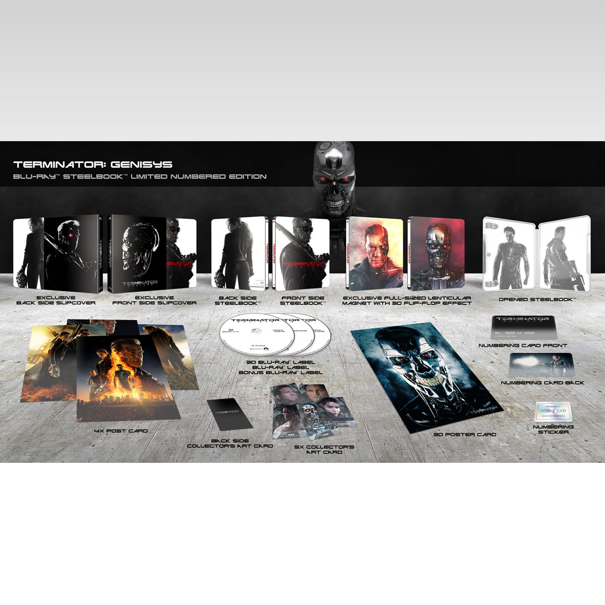 TERMINATOR 5: GENISYS 3D - ΕΞΟΛΟΘΡΕΥΤΗΣ 5: ΓΕΝΕSYS 3D Limited Collector's Numbered Edition Steelbook + CARDS (BLU-RAY 3D + BLU-RAY)