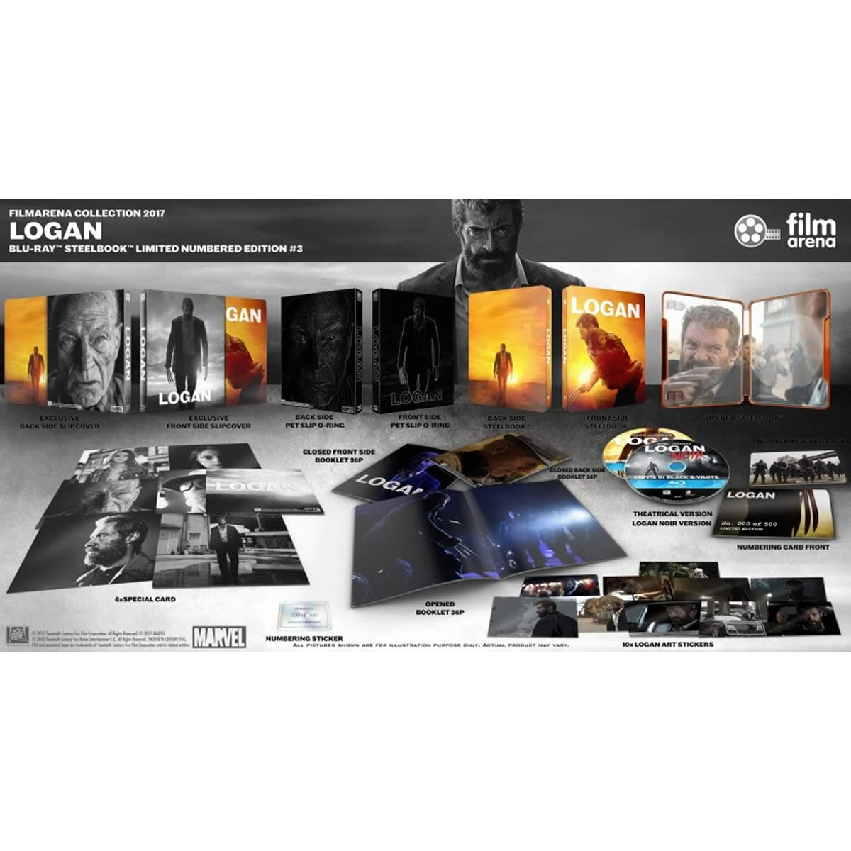 LOGAN Theatrical & Noir Limited Collector's Numbered Edition Steelbook + BOOKLET + CARDS + STICKERS (2 BLU-RAY)