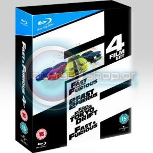 FAST AND FURIOUS 4-FILM BOXSET (4 BLU-RAYs)