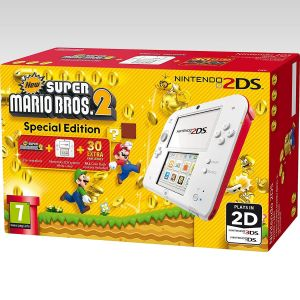 NINTENDO 2DS CONSOLE FTR-001 Special Edition WHITE & RED + NEW SUPER MARIO BROS 2