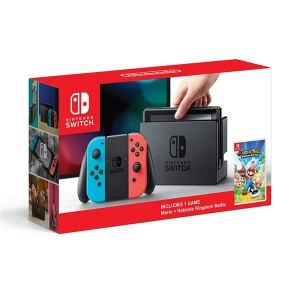 NINTENDO SWITCH CONSOLE Red & Blue JOY-CON 32GB & MARIO + RABBIDS: KINGDOM BATTLE (NSW)