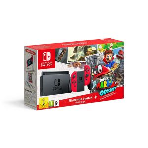 NINTENDO SWITCH CONSOLE Red & Red JOY-CON 32GB & SUPER MARIO ODYSSEY DLC GR (NSW)