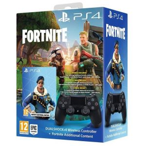 SONY OFFICIAL New WIRELESS CONTROLLER DUALSHOCK 4 v2 Jet Black + FORTNITE ADDITIONAL CONTENT Voucher (PS4)