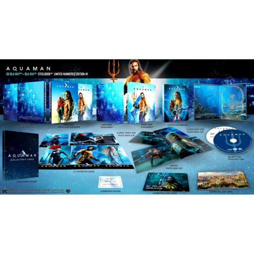 AQUAMAN 3D+2D Limited Collector's Numbered #1 Edition Exclusive Steelbook + BOOKLET + CARDS (BLU-RAY 3D + BLU-RAY 2D)