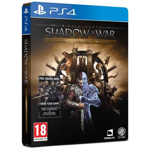 MIDDLE EARTH: SHADOW OF WAR - GOLD EDITION Steelbook + DAY 1 PreORDER BONUS Forge Your Enemy (PS4)