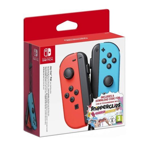 NINTENDO SWITCH JOY-CON PAIR NEON RED/NEON BLUE - SPECIAL BUNDLE Snipperclips Download Code (NSW)
