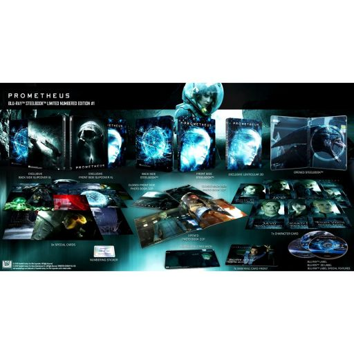 PROMETHEUS 3D+2D Limited Collector's Numbered #1 XL Edition Exclusive Steelbook + PHOTOBOOK + Special & Character CARDS (BLU-RAY 3D + BLU-RAY 2D + BLU-RAY BONUS)