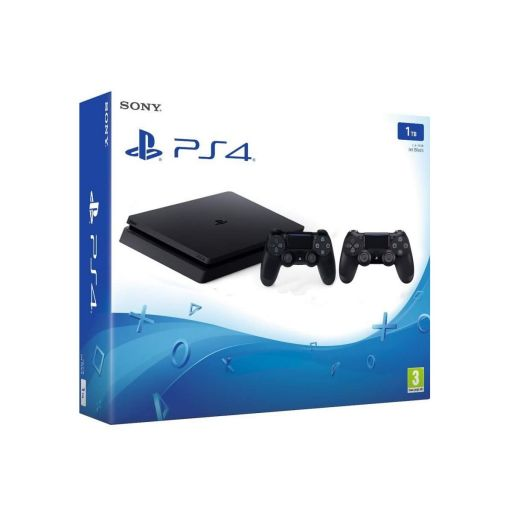 SONY PS4 CONSOLE Slim 1TB E Chassis Jet Black + 2nd WIRELESS CONTROLLER DUALSHOCK 4